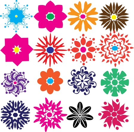 set of flowers . Illustration Vector