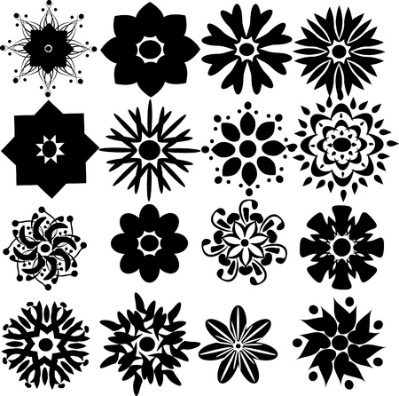 dingbats: set of flowers black and white. Illustration Illustration