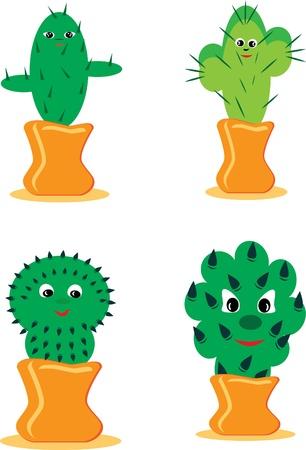 lejos: Conjunto de cactus alegres. ilustraci�n.
