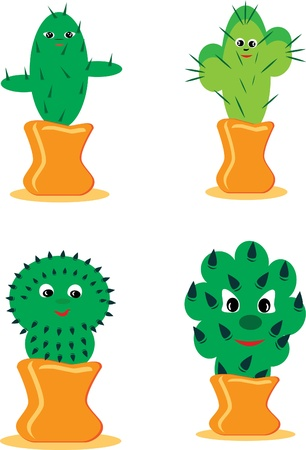 Set of cheerful cactuses. illustration.