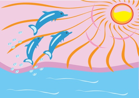 dawn on the sea and dolphins. Illustration. Vector