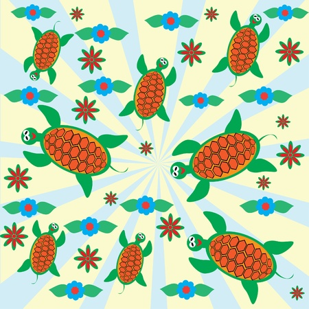 Abstract cheerful childrens background with turtles. illustration Vector