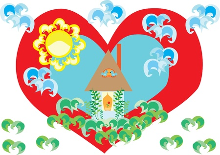 Love to a native home. Concept. Illustration Vector