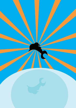 Illustration with sea, sun and dolphins Stock Vector - 10890374