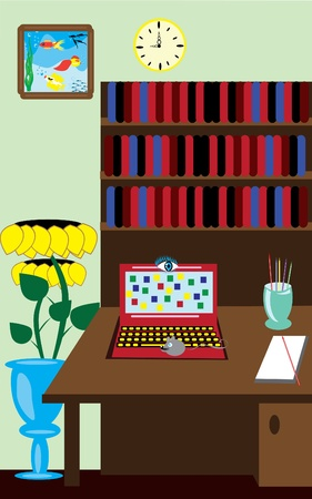 christmas room: room with catoon laptop, table, flower. Illustration