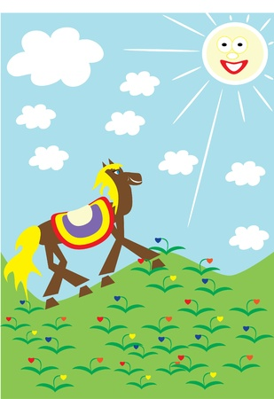 The horse walks on a green grass. illustration. Stock Vector - 10891390