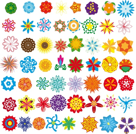 cartoon summer: set of flowers. Illustration Illustration