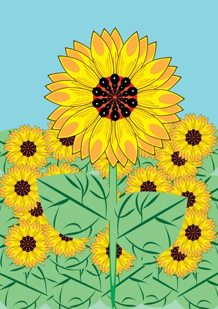 flower bed: Some sunflowers against the sky and greens. Illustration