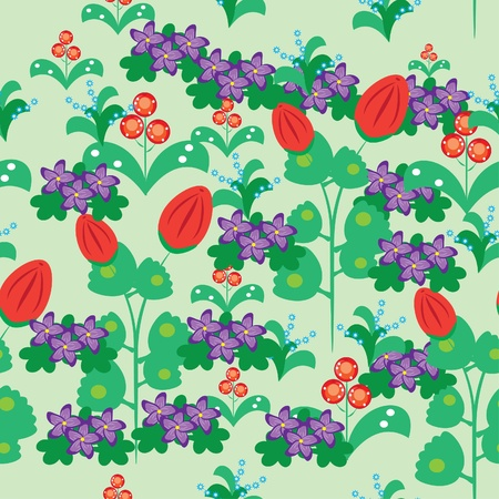 Seamless structure with berries and colors. A wood glade. Illustration. Vector