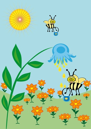 The bee collects nectar. Illustration Vector