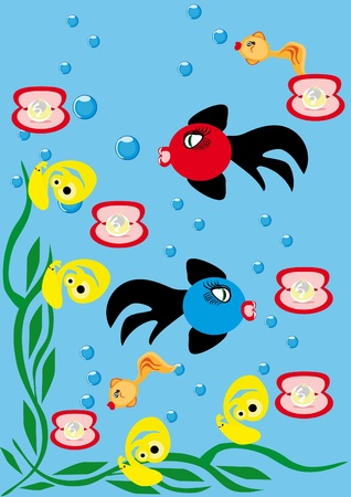 Abstract underwater background with small fishes Stock Vector - 10891461