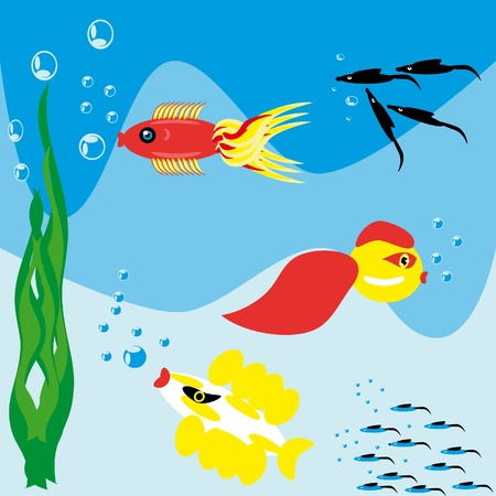 Fishes in the underwater world. Illustration. Vector