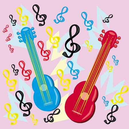 Two guitars on a musical background. Illustration Vector