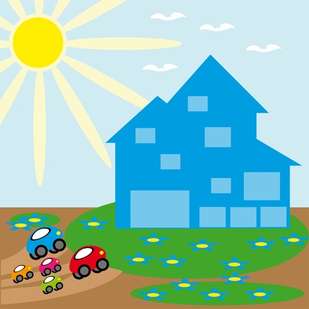 The family of cars has arrived home. An animated illustration Vector