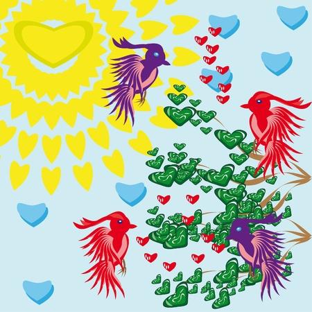 birds of paradise: Paradise birds on a love tree.Illustration. Illustration