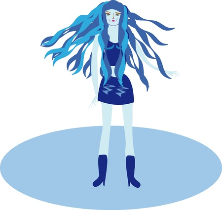 The girl in dark blue on a dancing. Illustration Vector