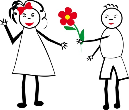 The boy gives flowers to the girl. A childrens picture. Illustration. Vector