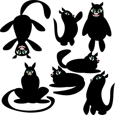 cats on isolated background. Illustration Vector