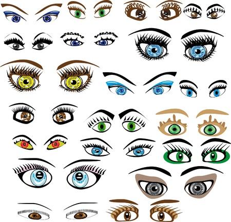 eyebrow makeup: Set di occhi. Illustrazione. Vettoriali