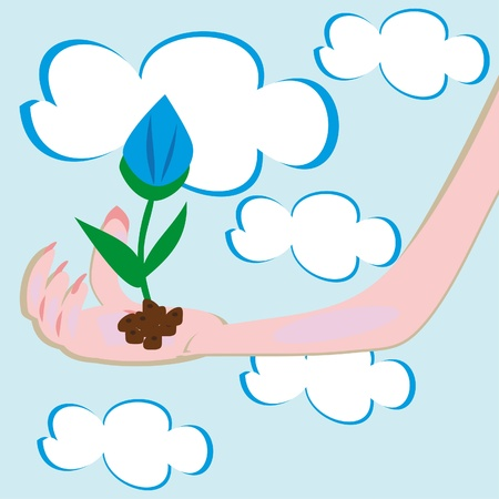 flower in a hand. Illustration