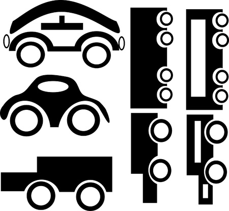 Set of black cars on a white background.Illustration  Vector
