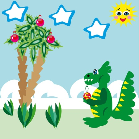 The dragon meets Christmas on the sea. illustration. Stock Vector - 10890295