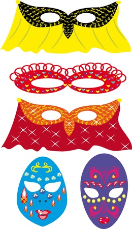 Set with carnival masks. Illustration Vector