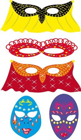 Set with carnival masks. Illustration Vector