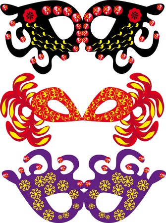 Set of carnival masks on the isolated background Vector