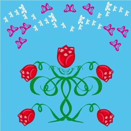 batterfly: rose bush on a blue background.Illustration