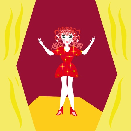 The girl in the red.Illustration Vector
