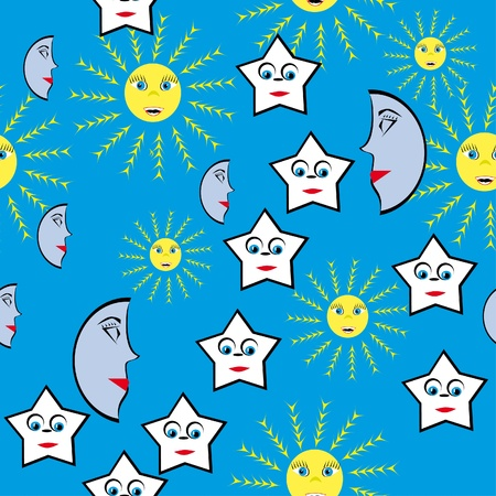 abstract pattern with stars and suns. illustration Vector