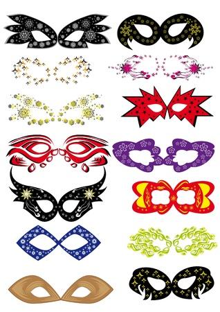 mascaras de carnaval: Juego de m�scaras de carnaval. Ilustraci�n Vectores