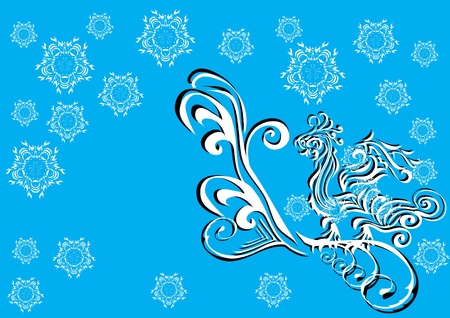 Winter pattern whith dragon and snowflakes Vector