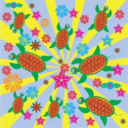 Abstract cheerful children's background with turtles. illustration Vector