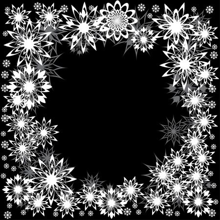 floral winter frame with snowflakes. illustration. Vector