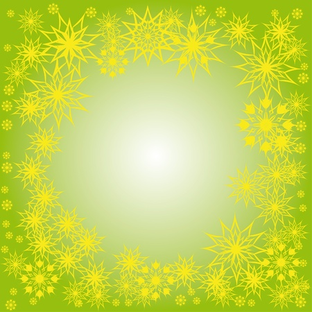 floral winter frame with snowflakes. illustration. Stock Vector - 11099357