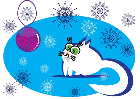 small cartoon cat on isolated background Vector