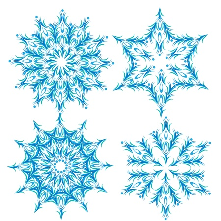 set of abstract vector snowflake. Illustration.