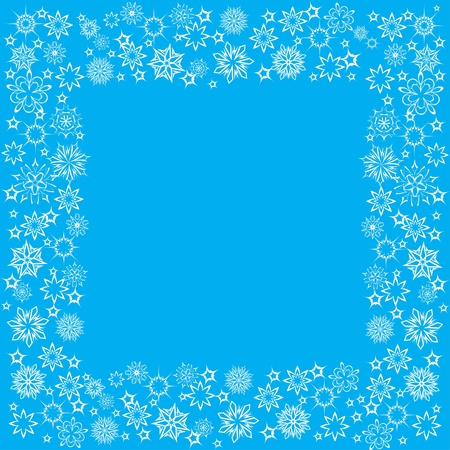 floral winter frame with snowflakes. illustration. Stock Vector - 11099341