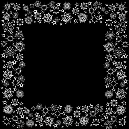 floral winter frame with snowflakes. illustration. Stock Vector - 11099340