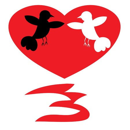 the enamoured: Silhouettes of two enamoured birds. Illustration