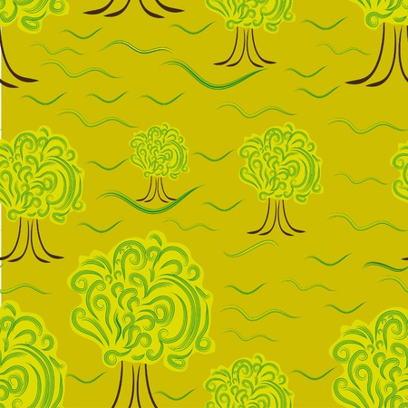 abstract seamless texture with trees Vector