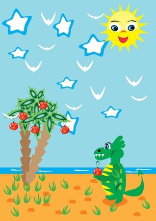 The dragon meets Christmas on the sea. illustration. Stock Vector - 11383599