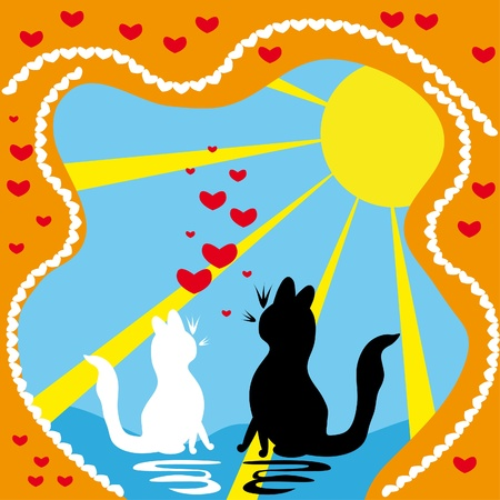 Two enamoured cats Vector