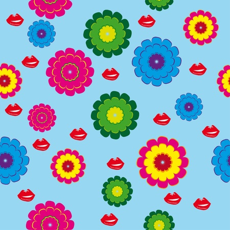 fetishes: abstract seamless pattern with lips and flowers