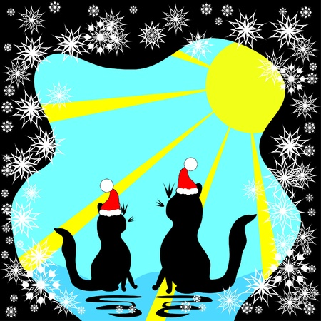 Two cats meet a holiday illustration Vector