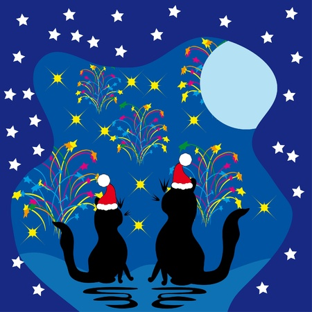 Two cats meet a holiday Vector