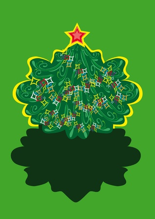Illustration with cristmass tree Vector