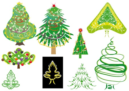set of cristmass tree. Illustration Vector